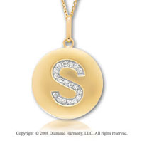 14k Yellow Gold Diamond Initial S Disk Pendant