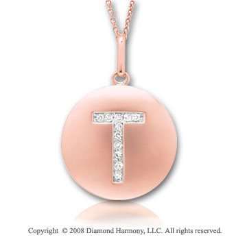 14k Rose Gold Diamond Initial T Disk Pendant
