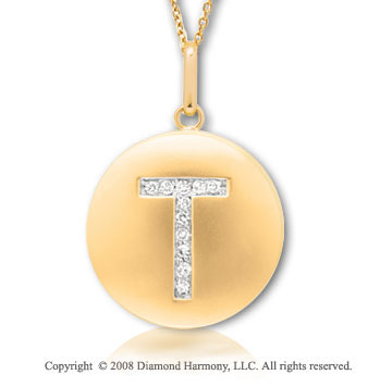 14k Yellow Gold Diamond Initial T Disk Pendant