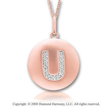14k Rose Gold Diamond Initial U Disk Pendant