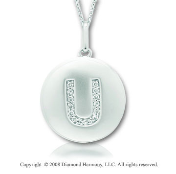 14k White Gold Diamond Initial U Disk Pendant