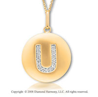 14k Yellow Gold Diamond Initial U Disk Pendant