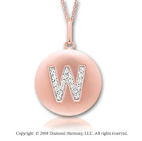 14k Rose Gold Diamond Initial W Disk Pendant