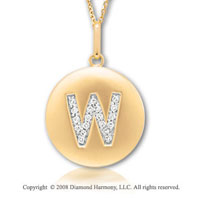 14k Yellow Gold Diamond Initial W Disk Pendant