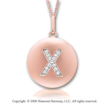 14k Rose Gold Diamond Initial X Disk Pendant