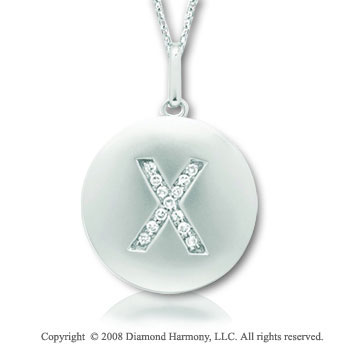 14k White Gold Diamond Initial X Disk Pendant