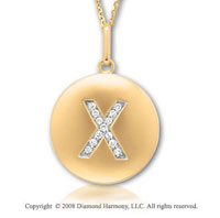 14k Yellow Gold Diamond Initial X Disk Pendant