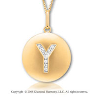 14k Yellow Gold Diamond Initial Y Disk Pendant