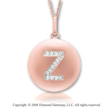 14k Rose Gold Diamond Initial Z Disk Pendant