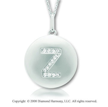 14k White Gold Diamond Initial Z Disk Pendant