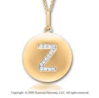14k Yellow Gold Diamond Initial Z Disk Pendant