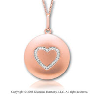 14k Rose Gold Diamond Heart Disk Pendant