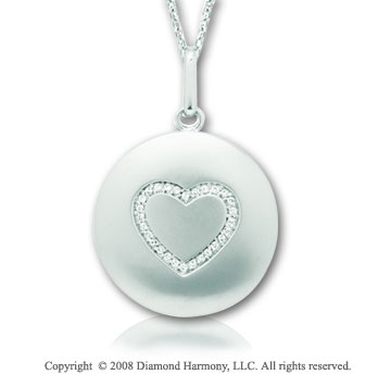 14k White Gold Diamond Heart Disk Pendant