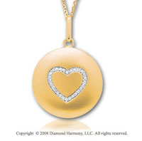 14k Yellow Gold Diamond Heart Disk Pendant