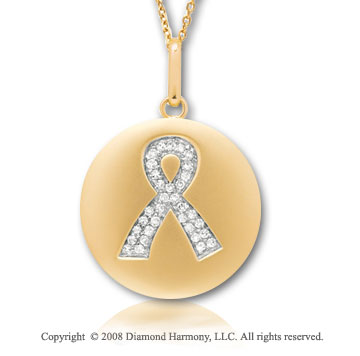 14k Yellow Gold Diamond Breast Cancer Awareness Disk Pendant