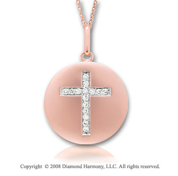 14k Rose Gold Diamond Cross Disk Pendant