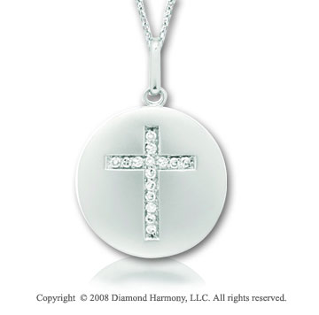 14k White Gold Diamond Cross Disk Pendant
