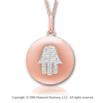 14k Rose Gold Diamond Chamsa (Hand) Disk Pendant