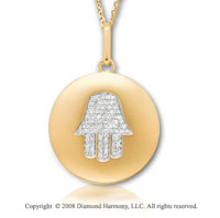 14k Yellow Gold Diamond Chamsa (Hand) Disk Pendant