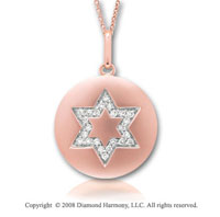 14k Rose Gold Diamond Star of David Disk Pendant