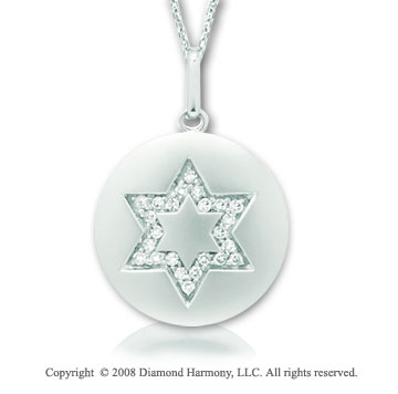 14k White Gold Diamond Star of David Disk Pendant