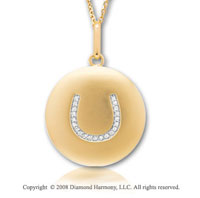14k Yellow Gold Diamond Horseshoe Disk Pendant