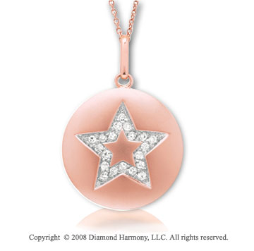 14k Rose Gold Diamond Star Disk Pendant
