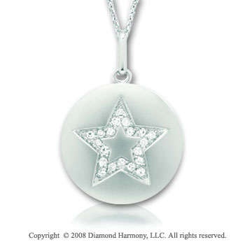 14k White Gold Diamond Star Disk Pendant