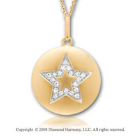 14k Yellow Gold Diamond Star Disk Pendant