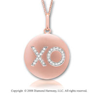 14k Rose Gold Diamond Hugs and Kisses Disk Pendant