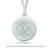14k White Gold Diamond Hugs and Kisses Disk Pendant