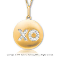 14k Yellow Gold Diamond Hugs and Kisses Disk Pendant