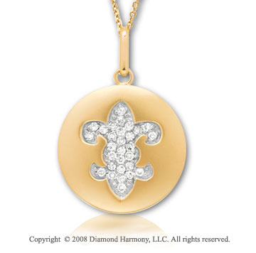 14k Yellow Gold Diamond Fleur De Lis Disk Pendant