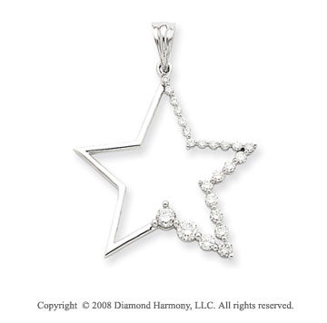 14k White Gold 1/2ct Diamond Star Pendant