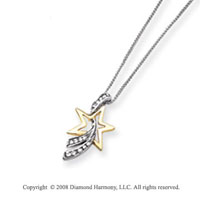 14k White Gold 1/10ct Diamond Shooting Star Pendant