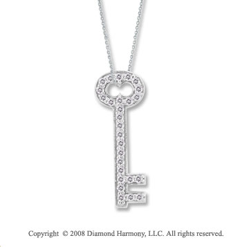 14k White Gold 1/4 Carat Diamond Key Pendant