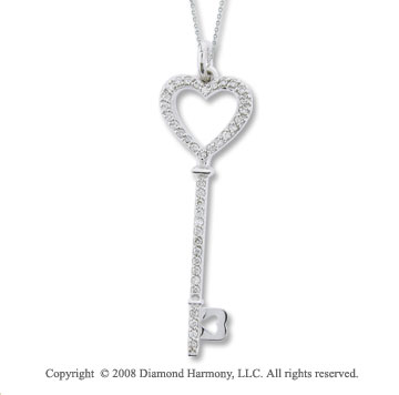 14k White Gold 2/5 Carat Diamond Key Pendant