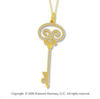 14k Yelloww Gold 2/3 Carat Diamond Key Pendant