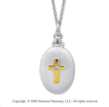 18k Yellow Gold Sterling Silver Diamond Cross Medallion Disk