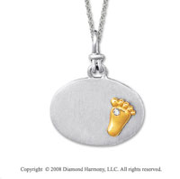 18k Yellow Gold Sterling Silver Diamond Baby Foot Medallion Disk