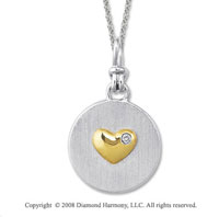 18k Yellow Gold Sterling Silver Diamond Heart Medallion Disk
