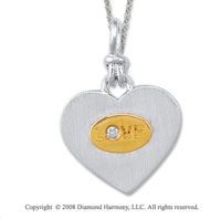 18k Yellow Gold Sterling Silver Diamond Love Medallion Disk