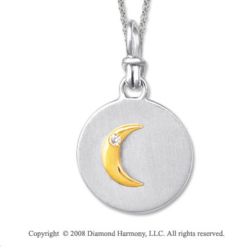 18k Yellow Gold Sterling Silver Diamond Moon Medallion Disk