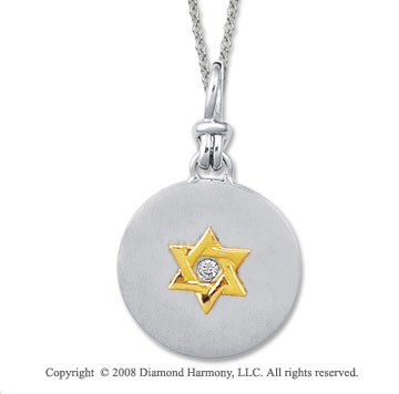 18k Yellow Gold Sterling Silver Diamond Star of David Medallion Disk