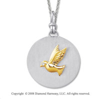18k Yellow Gold Sterling Silver Diamond Dove Medallion Disk