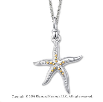 18k Yellow Gold Sterling Silver Diamond Starfish Pendant
