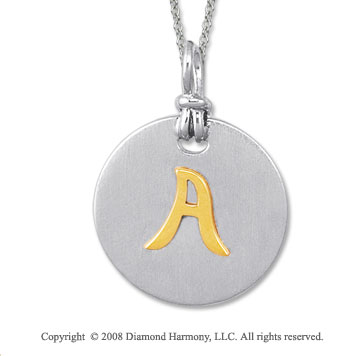 18k Yellow Gold Sterling Silver A Initial Disk Pendant
