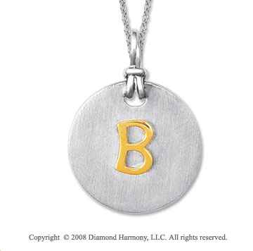 18k Yellow Gold Sterling Silver B Initial Disk Pendant