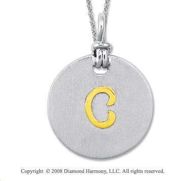 18k Yellow Gold Sterling Silver C Initial Disk Pendant