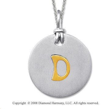 18k Yellow Gold Sterling Silver Initial Disk Pendant